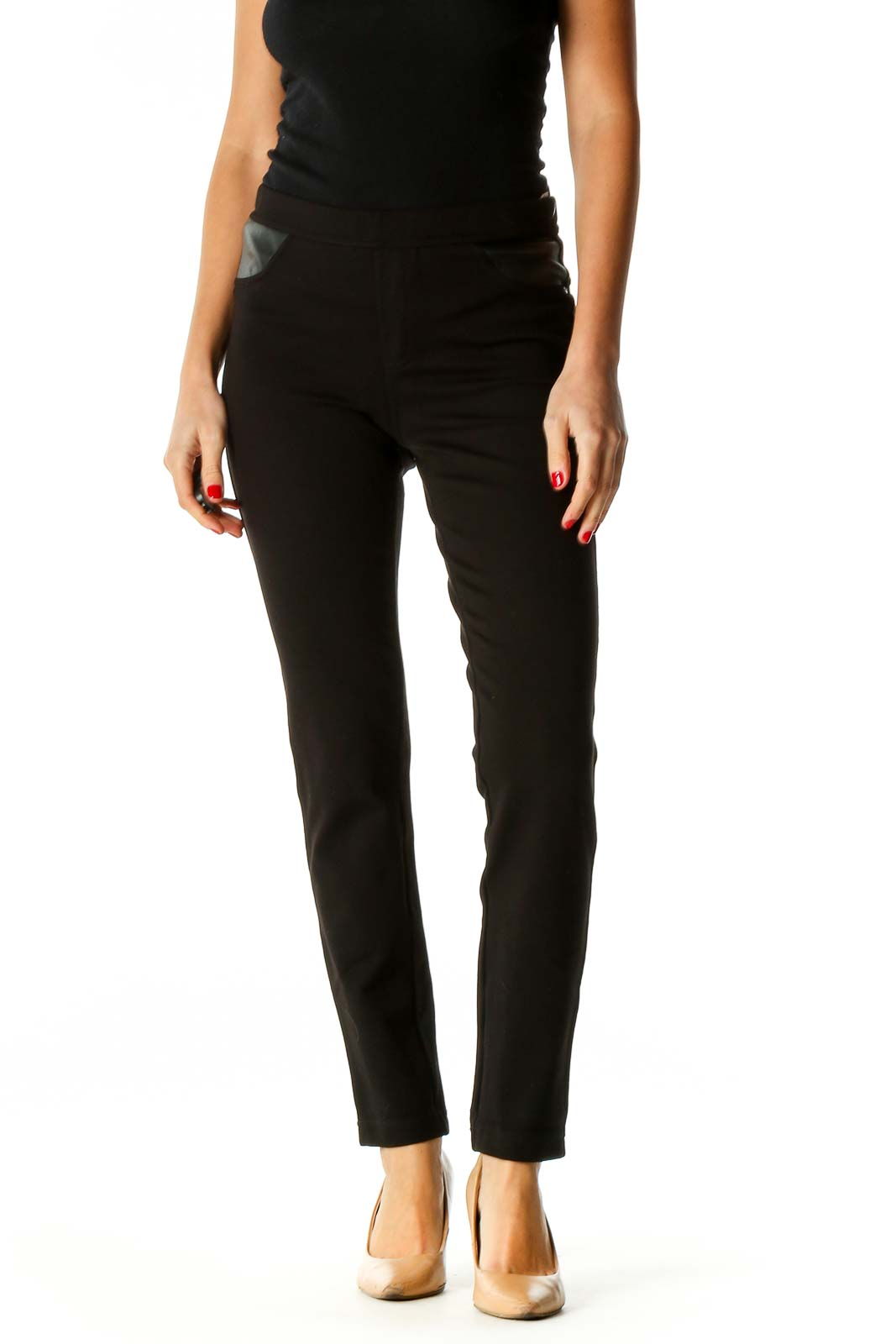 Black Solid Chic Leggings Front