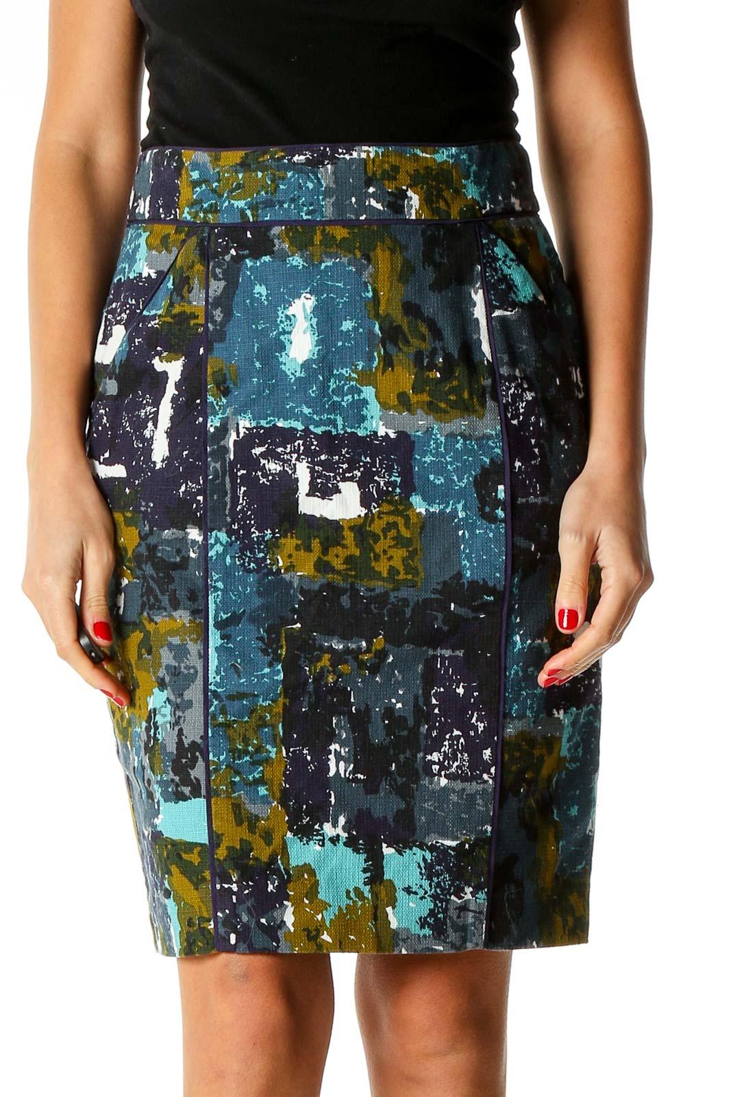 Blue Printed Brunch Pencil Skirt Front