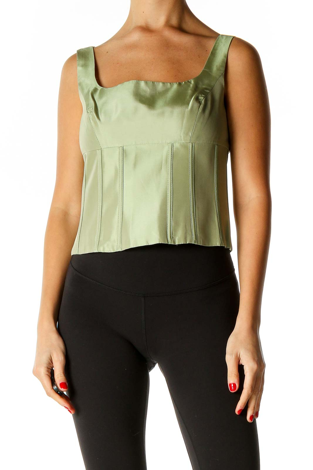 Green Solid Chic Tank Top Front
