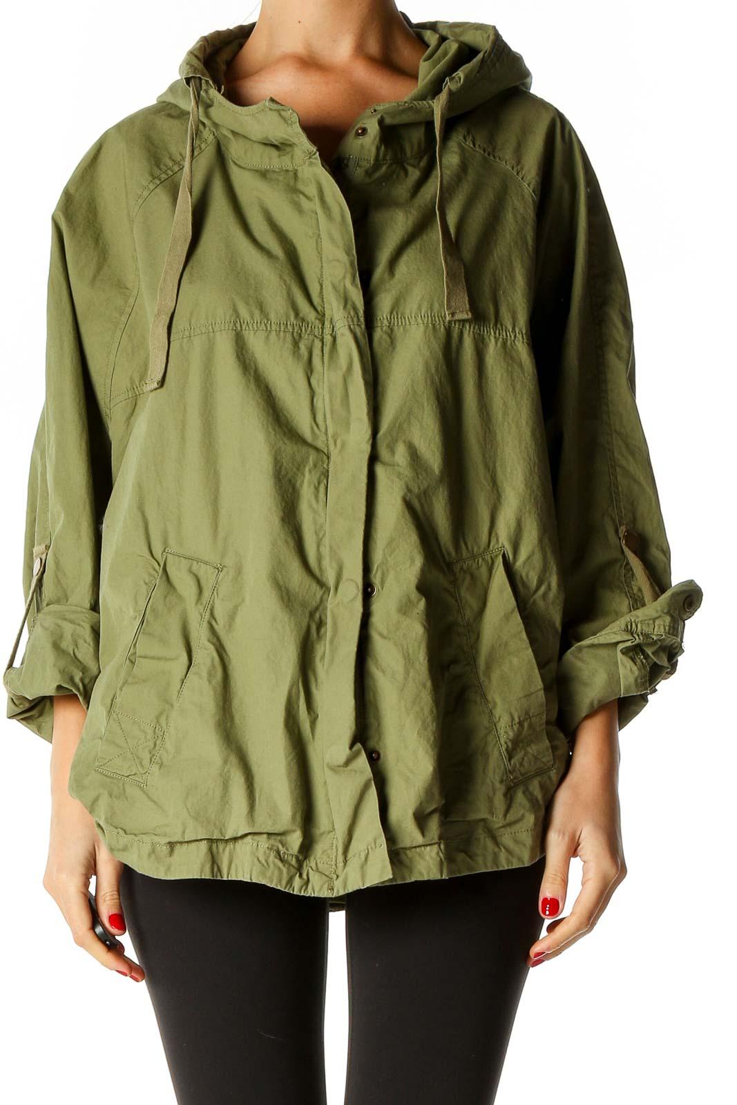 Green Windbreaker Jacket Front