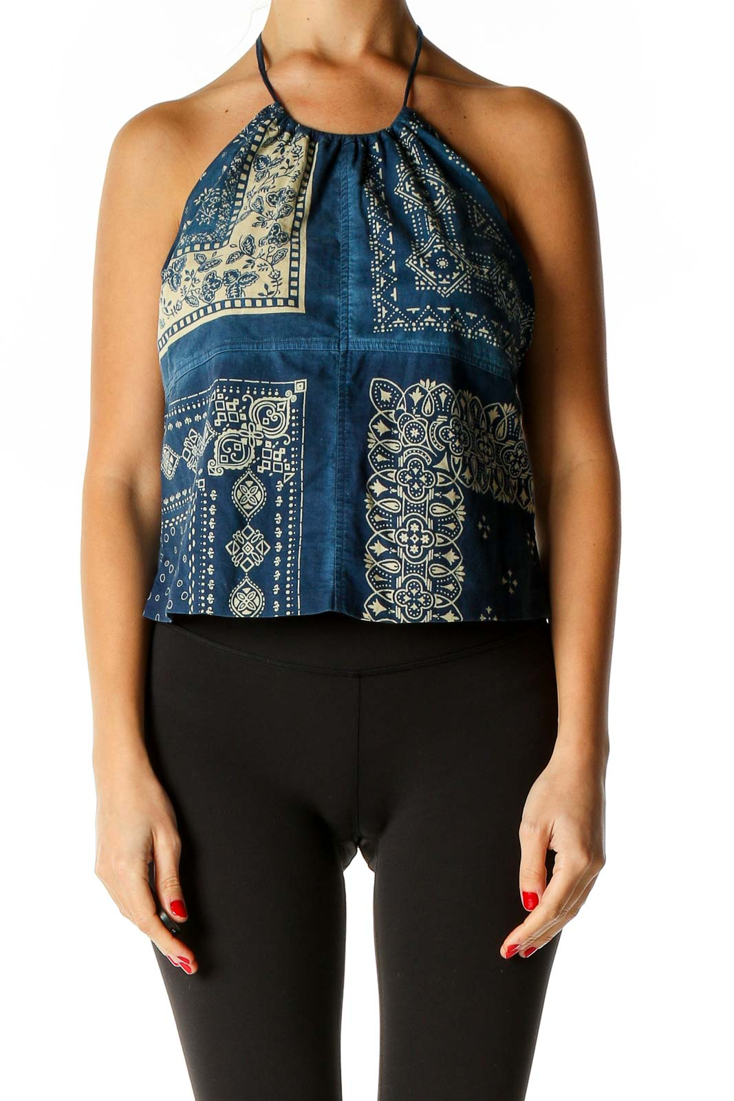 Blue Printed Bohemian Top Front
