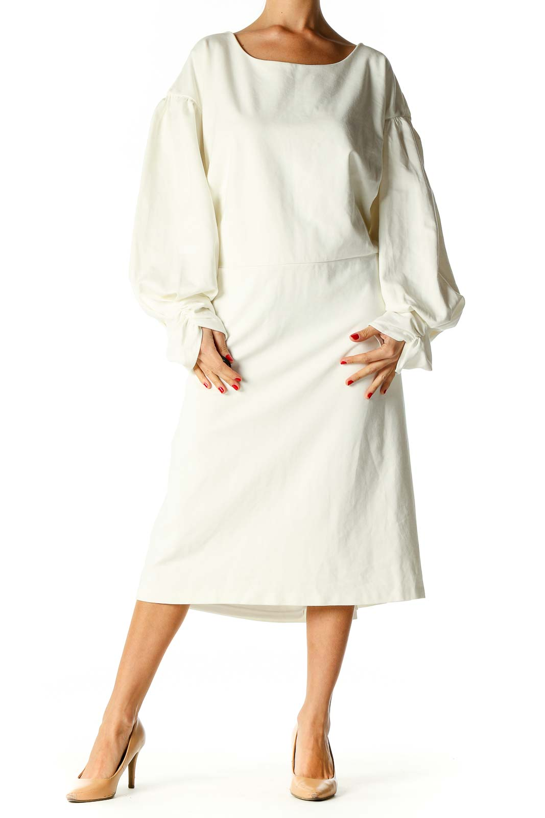 White Solid Classic A-Line Dress Front