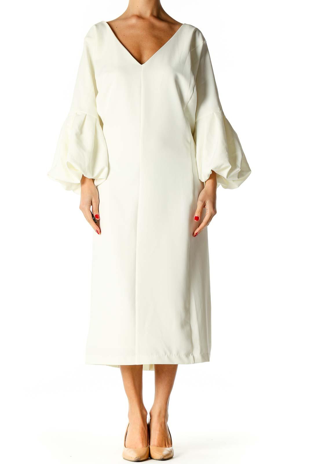 Beige Solid Classic Column Dress Front