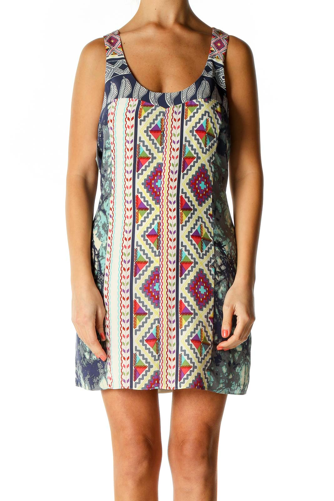 Beige Printed Holiday A-Line Dress Front
