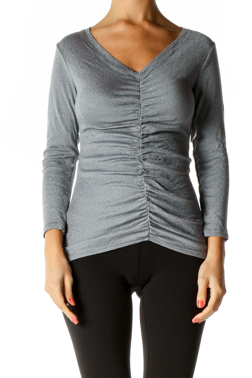 Gray Solid All Day Wear Top Front