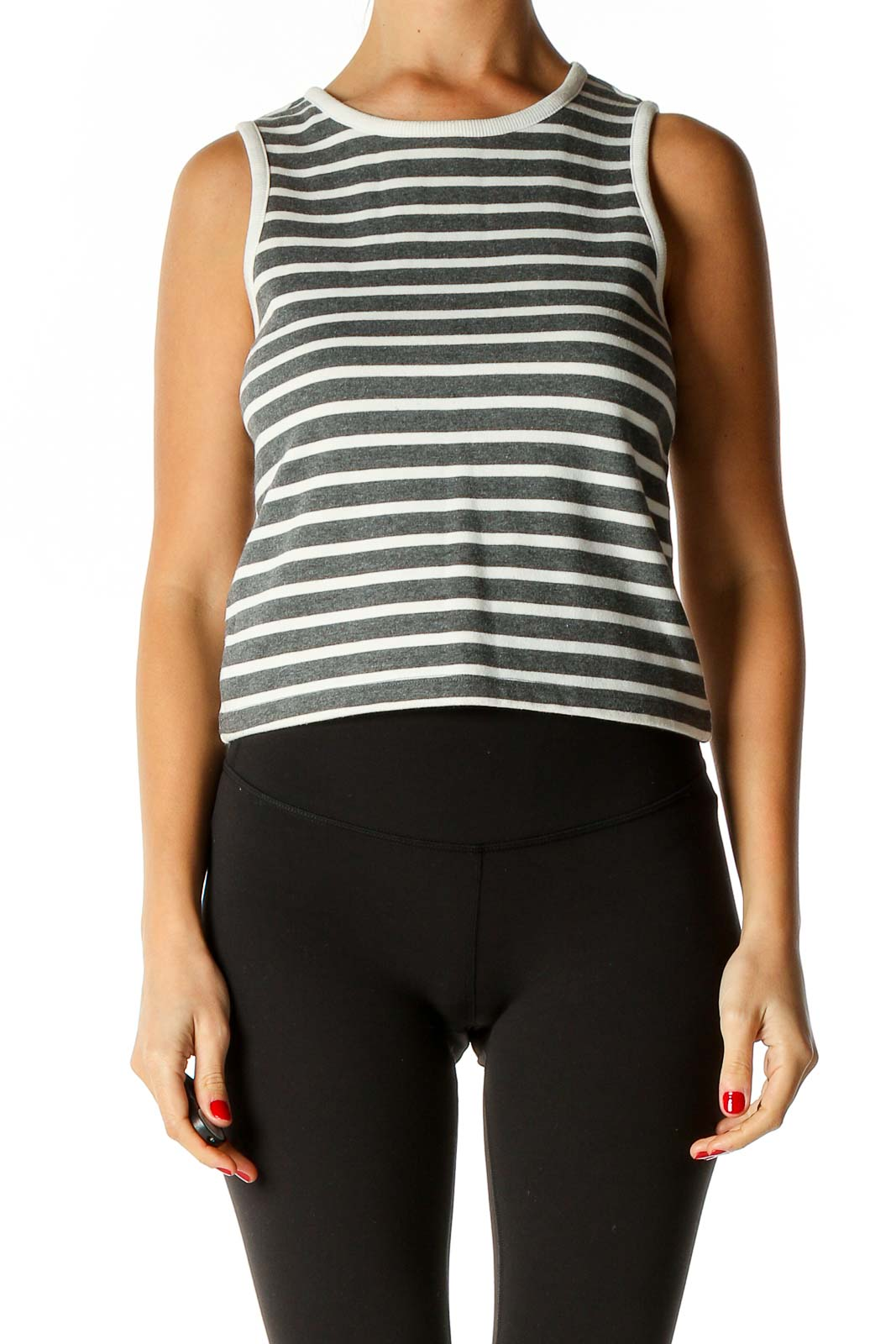 Gray Striped All Day Wear Tank Top Front