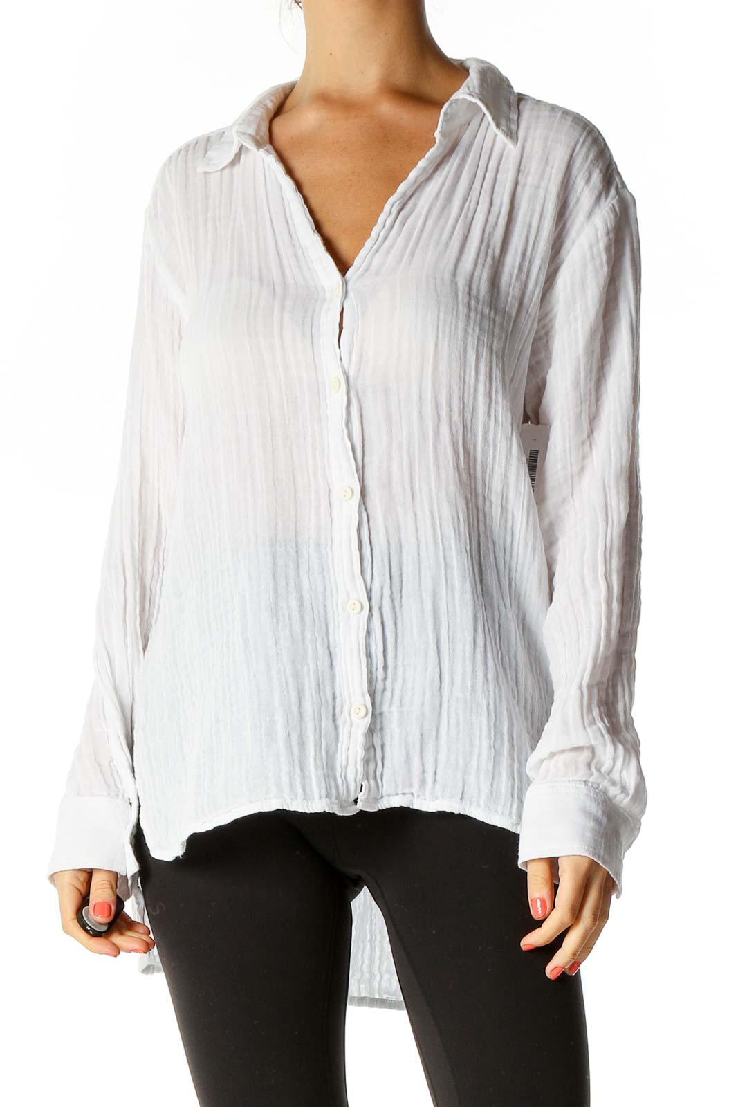 White Textured All Day Wear Shirt Front