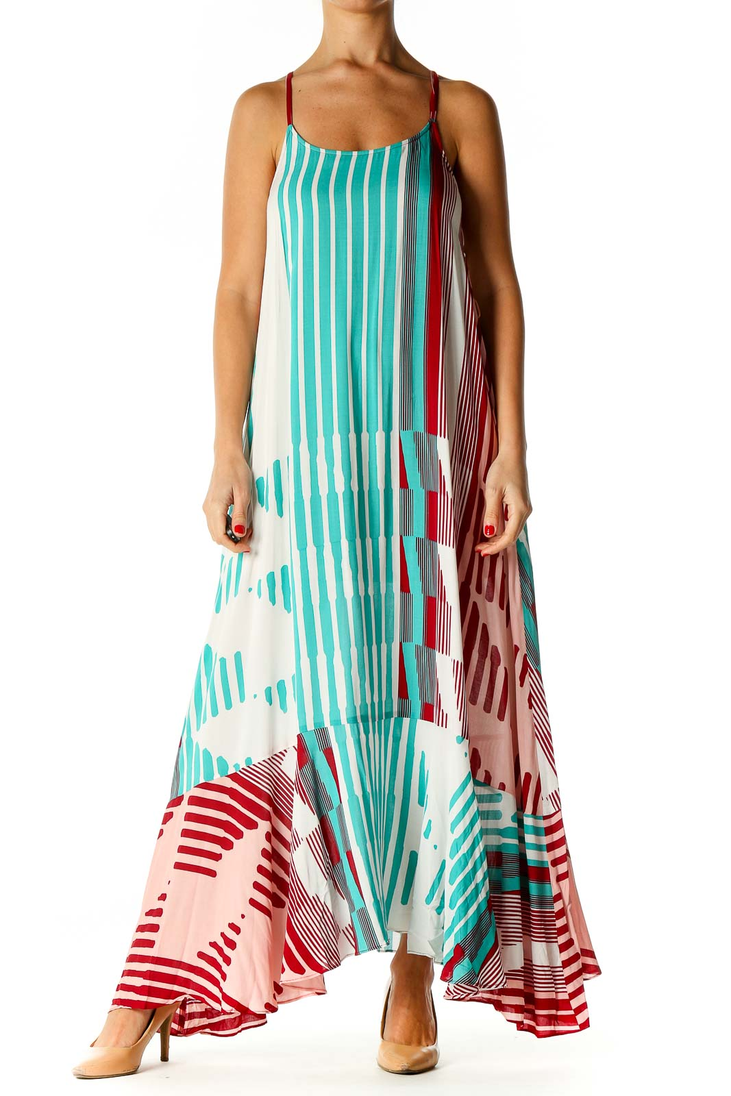 White Striped Holiday Fit & Flare Dress Front