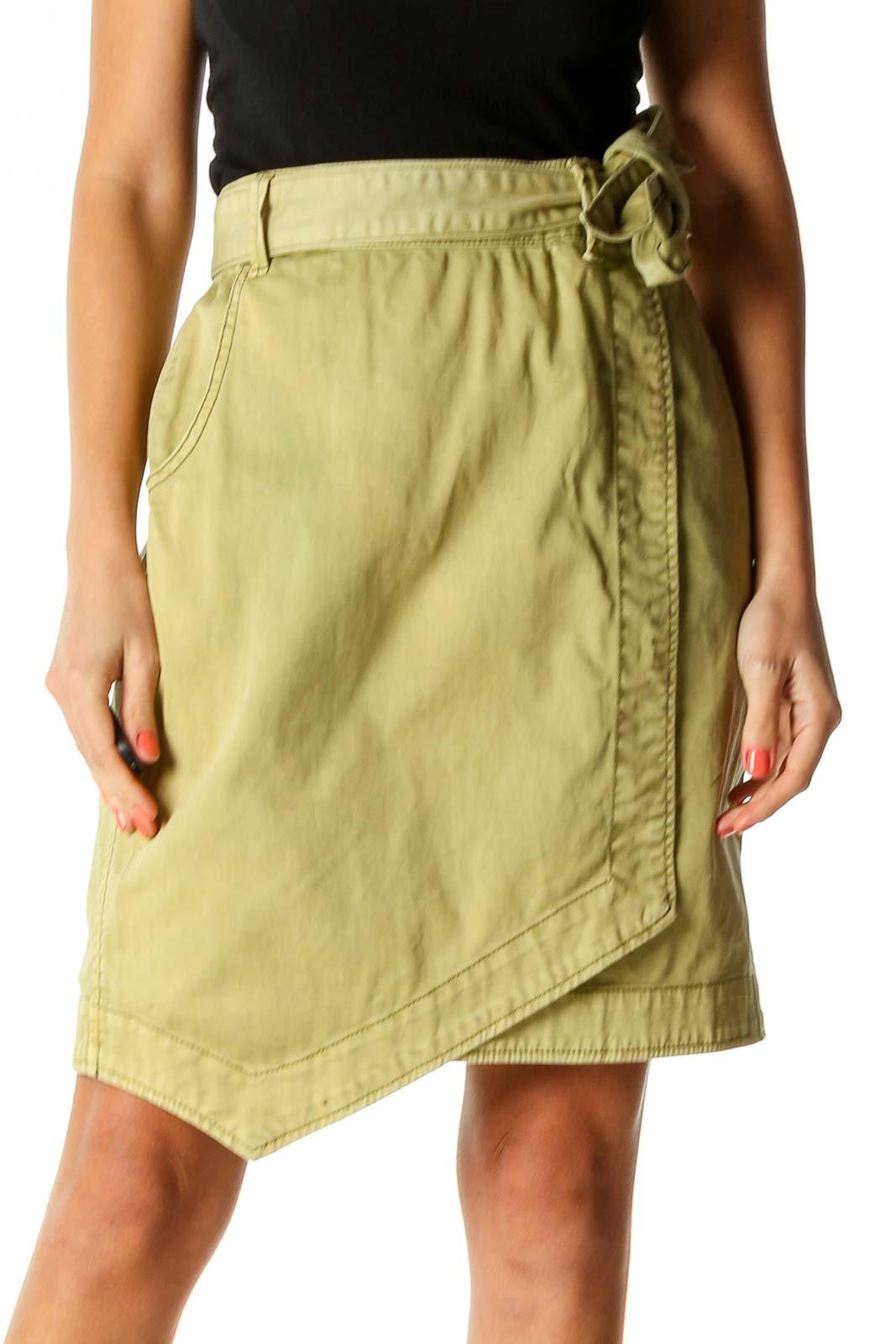 Green Punk A-Line Skirt Front