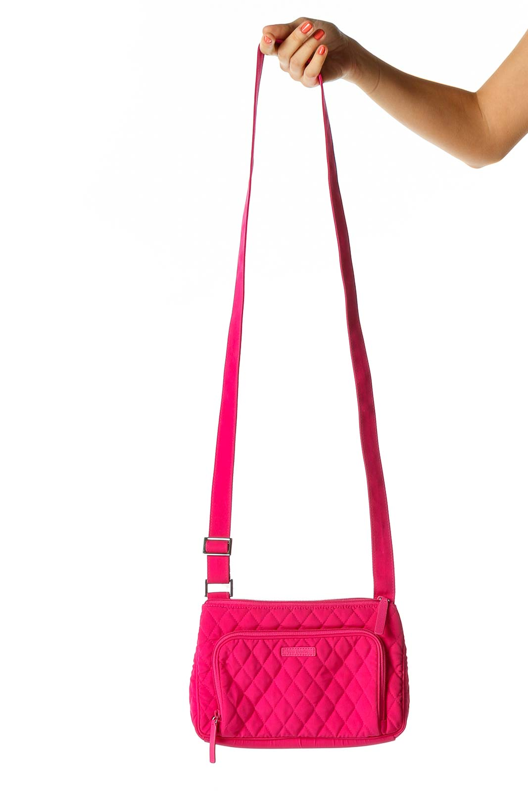 Pink Quilted Crossbody Bag Front