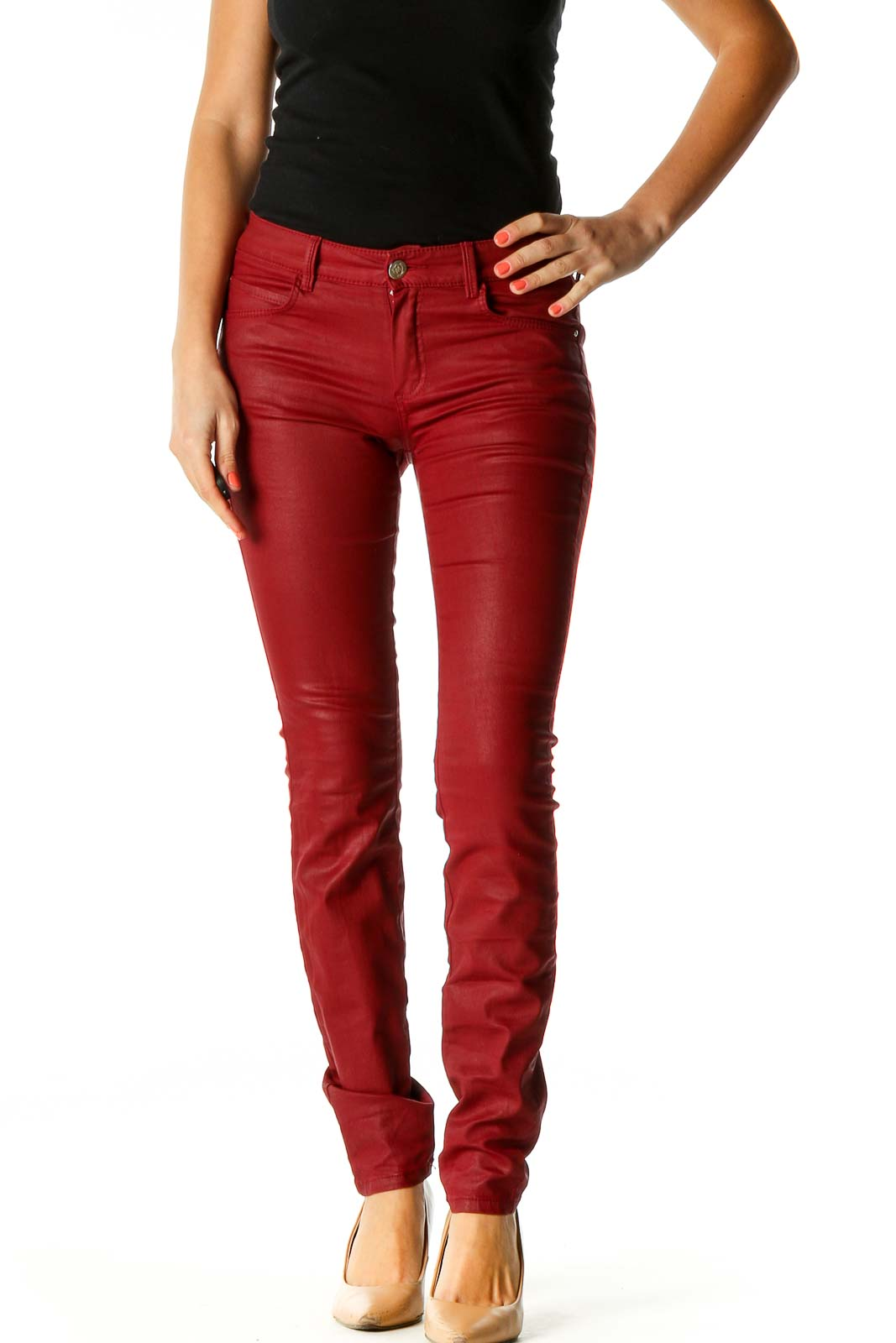 Red Skinny Jeans Front