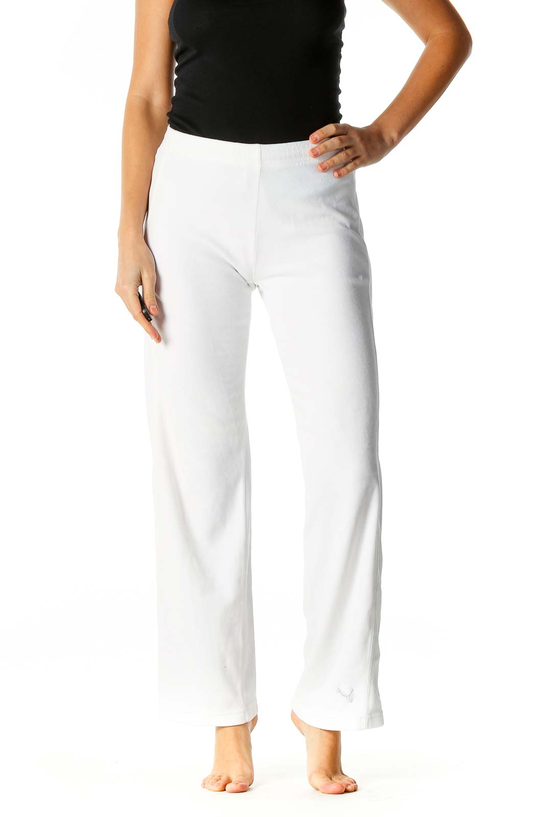 White Textured Activewear Trousers Front