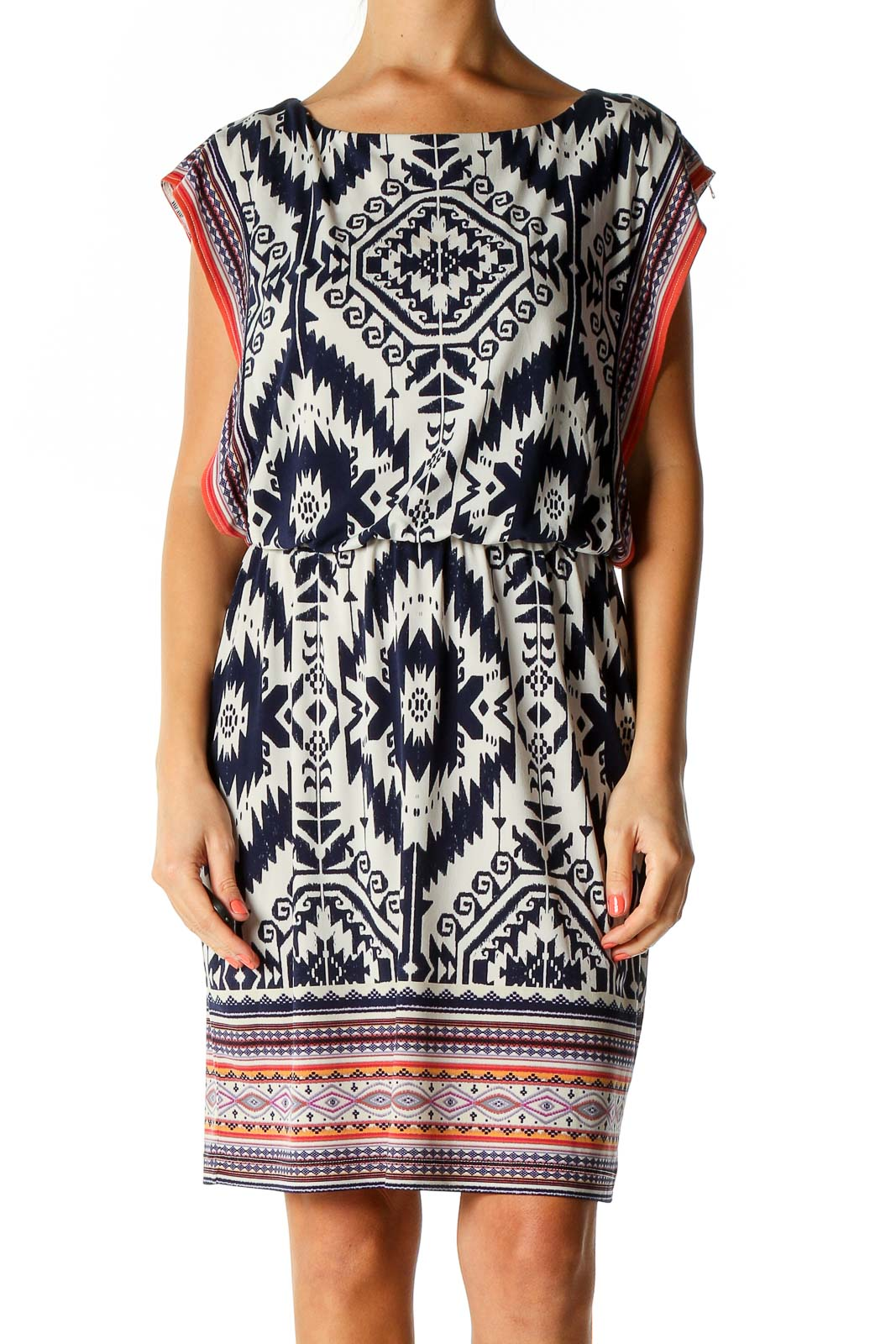 Beige Printed Day Shift Dress Front