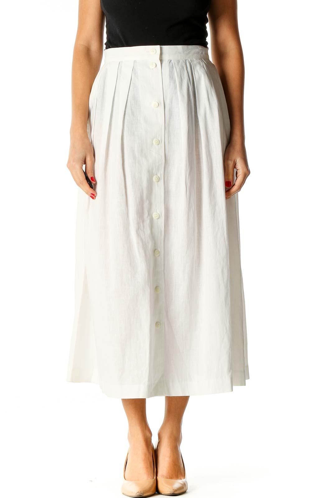 White Brunch Flared Skirt Front