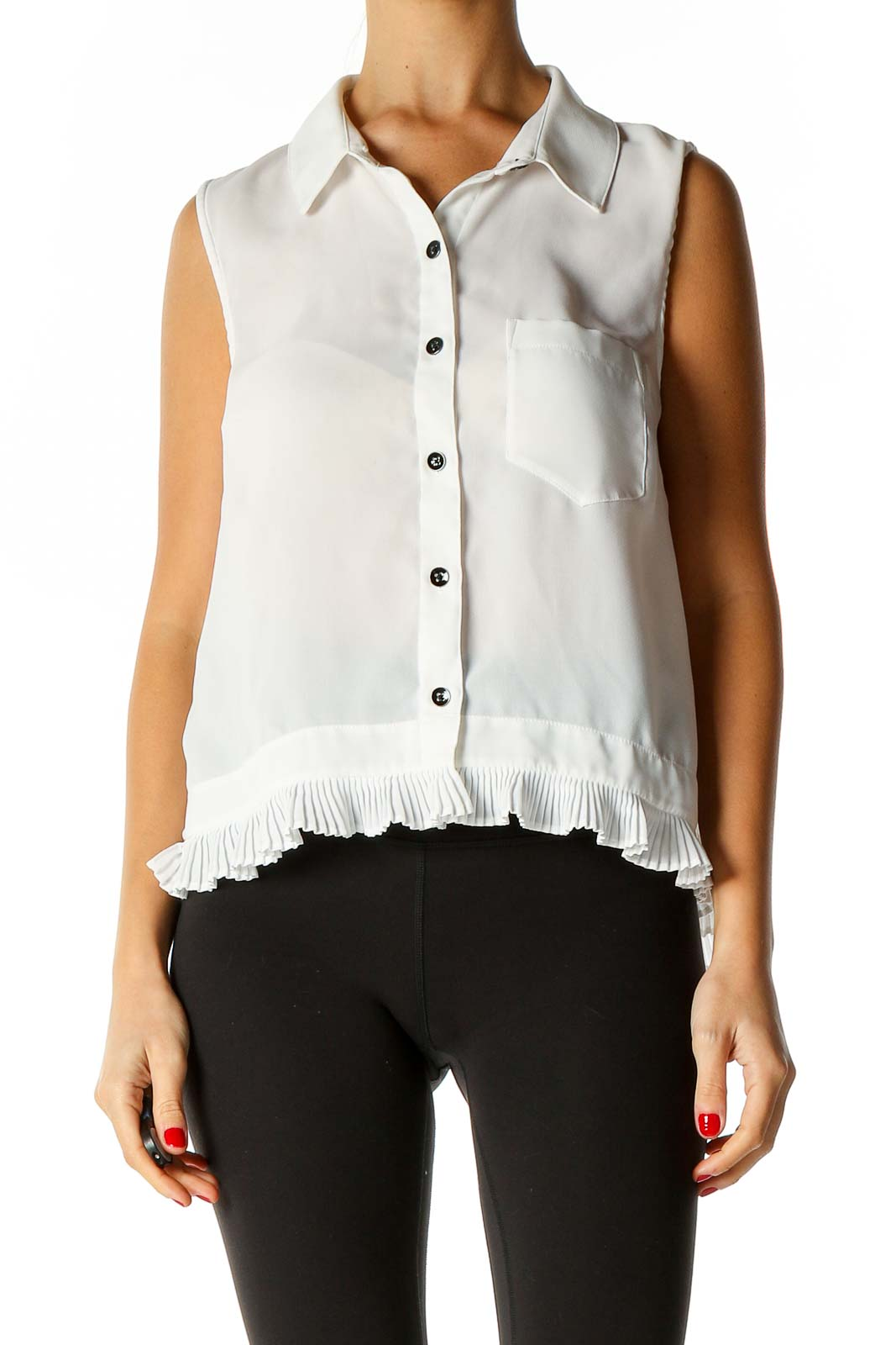 White Solid Bohemian Shirt Front