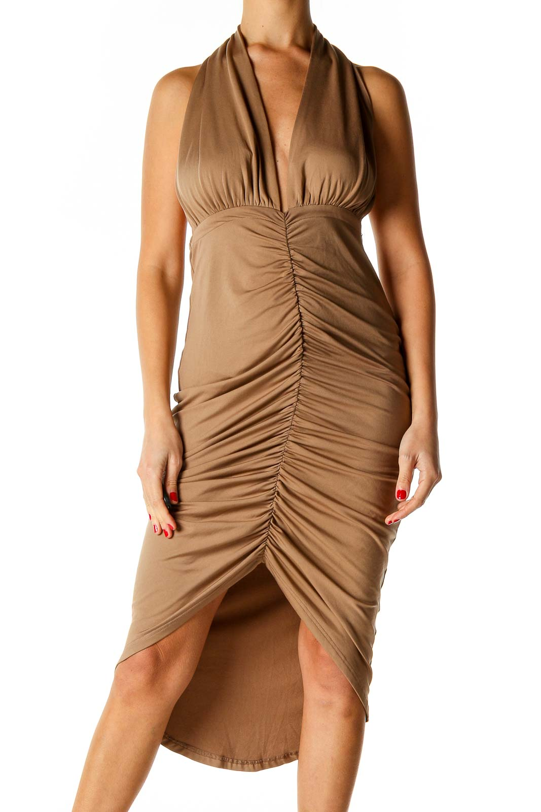 Brown Solid Retro Sheath Dress Front