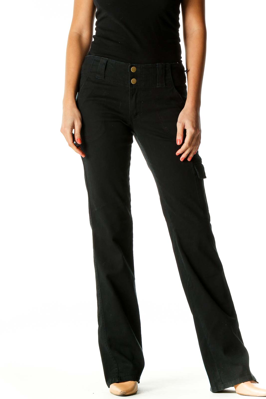 Black Straight Leg Jeans Front