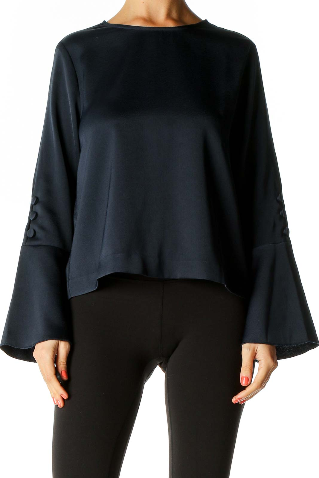 Blue Solid Chic Blouse Front
