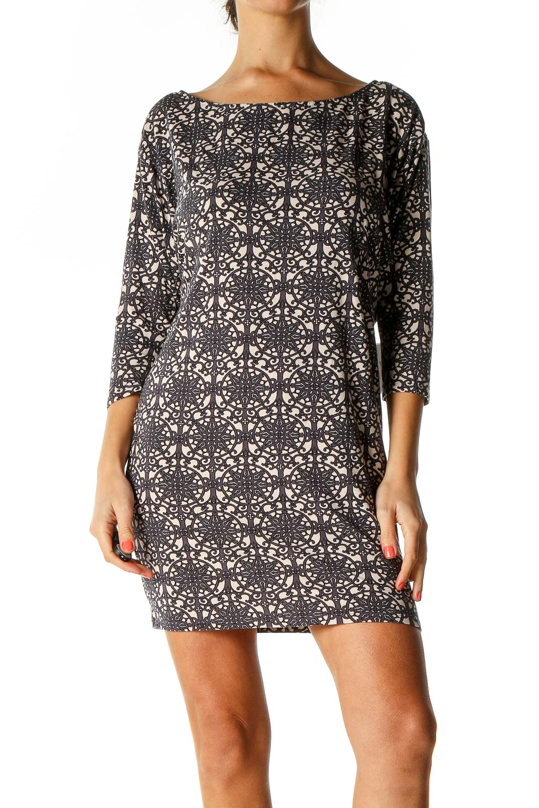 Brown Cocktail Sheath Dress Front