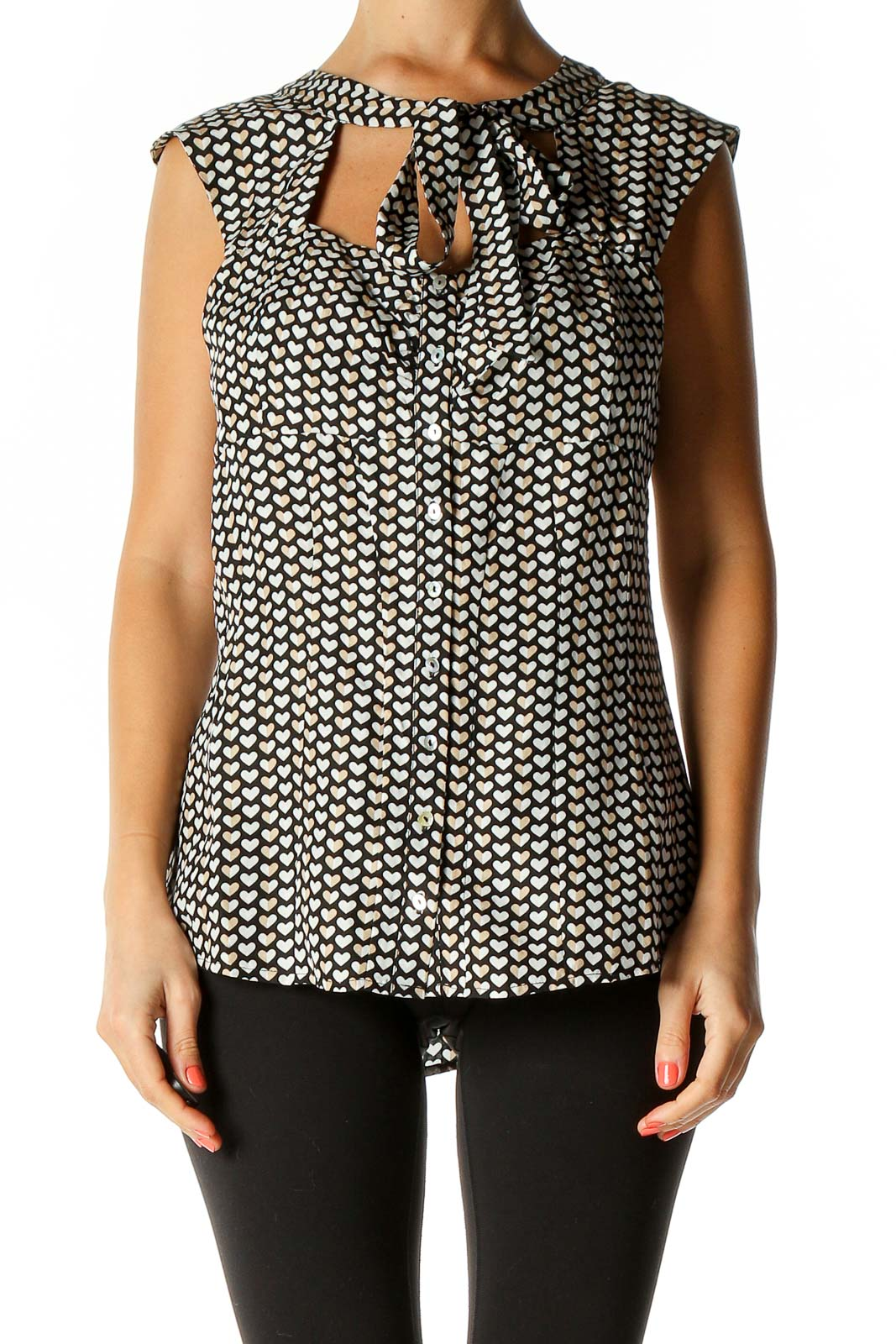 Beige Object Print Chic Blouse Front