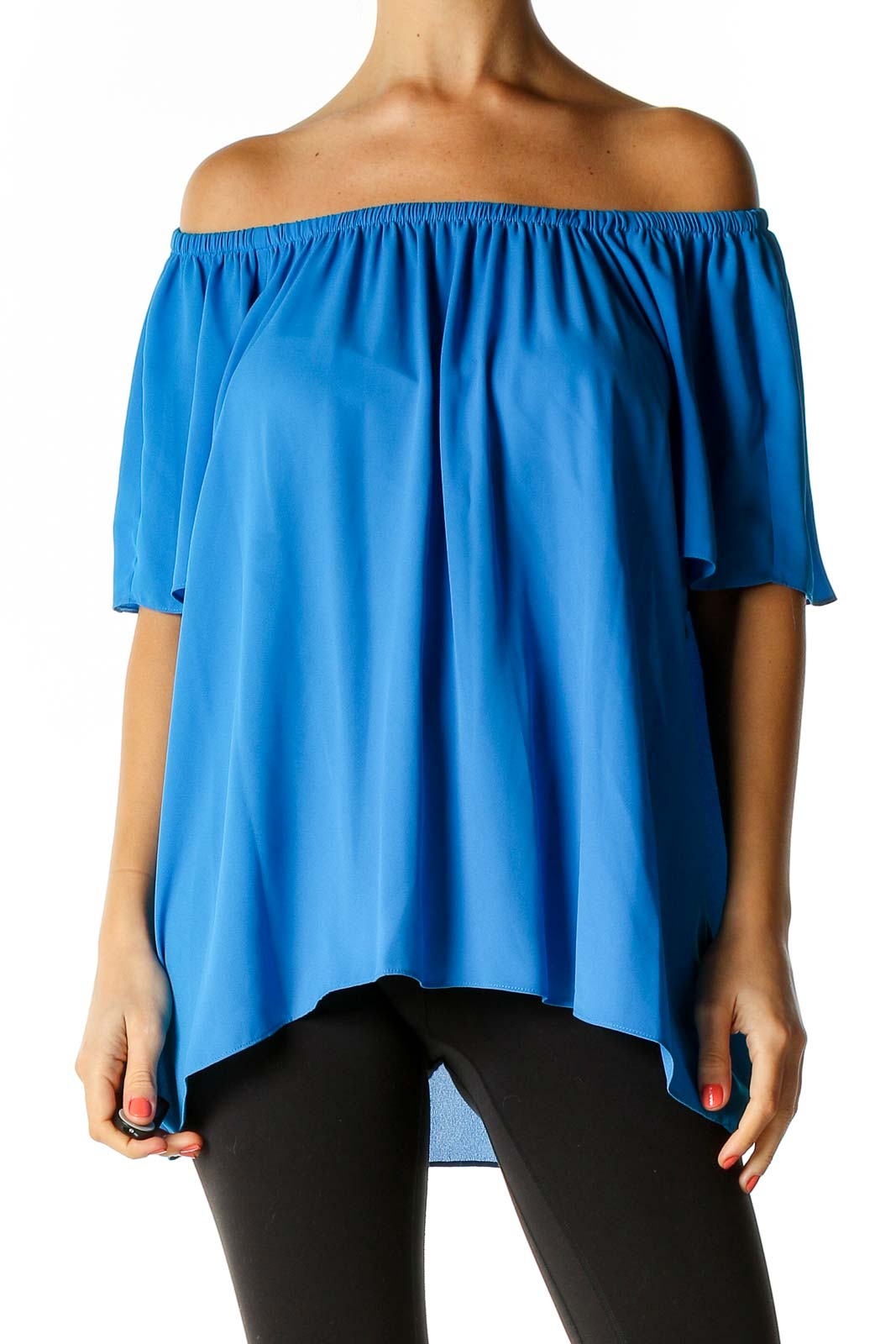 Blue Solid Holiday Blouse Front