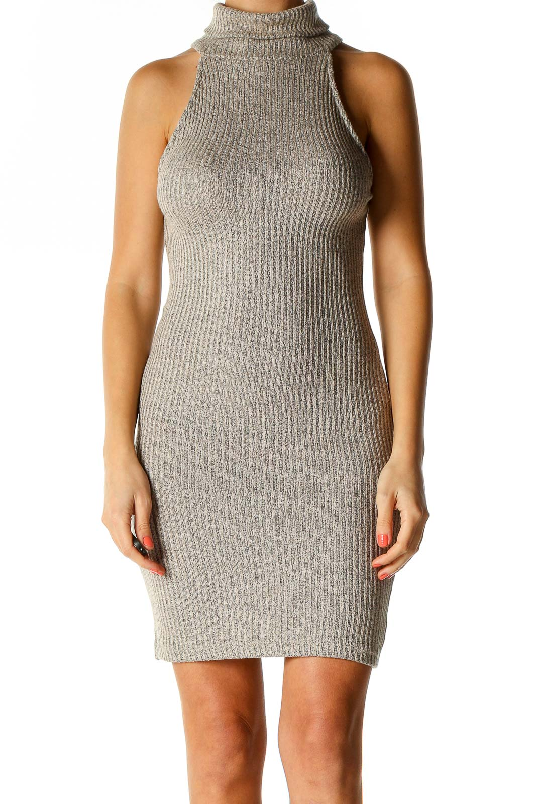 Gray Textured Classic Sheath Dress Front