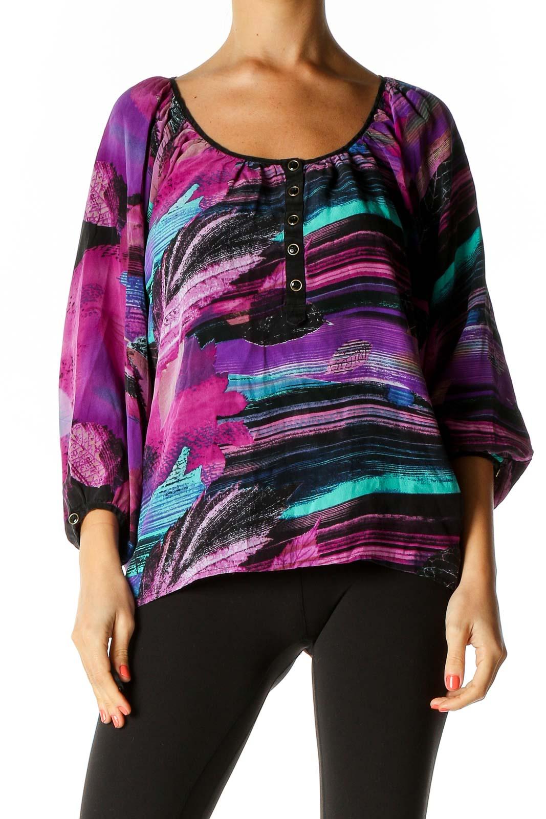 Black Striped Retro T-Shirt Front