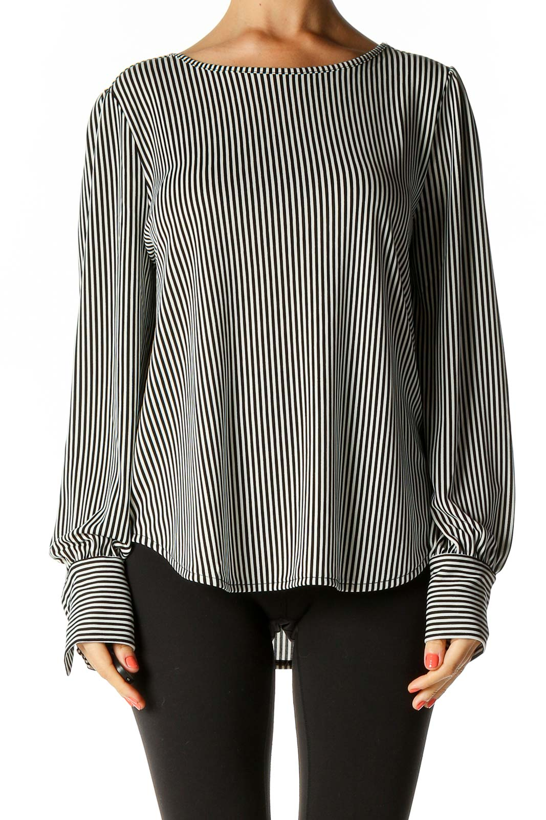 Black Striped All Day Wear Blouse Front