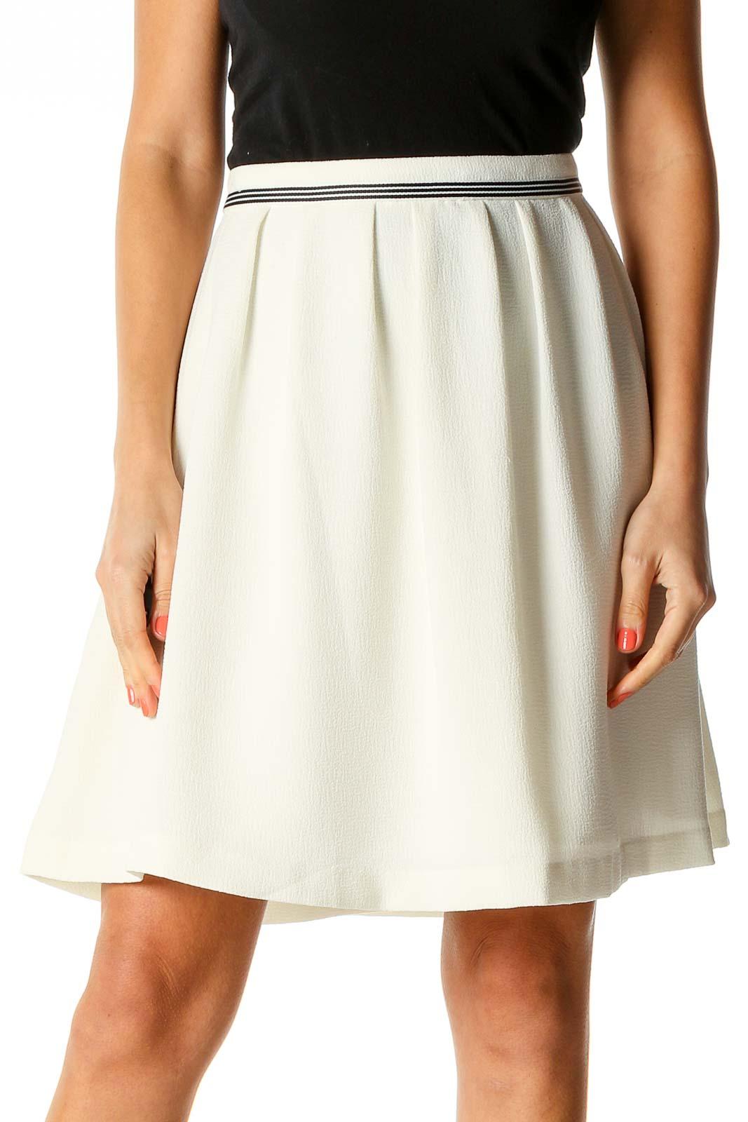 White Chic Flared Skirt Front