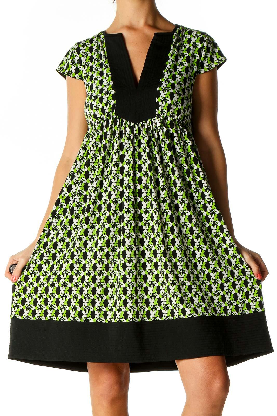 Black Polka Dot Bohemian Fit & Flare Dress Front
