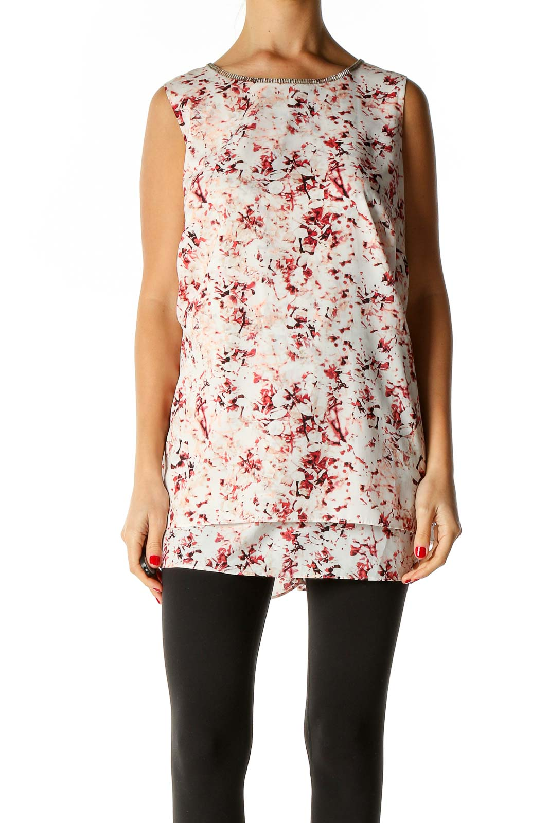 White Floral Print Blouse Front