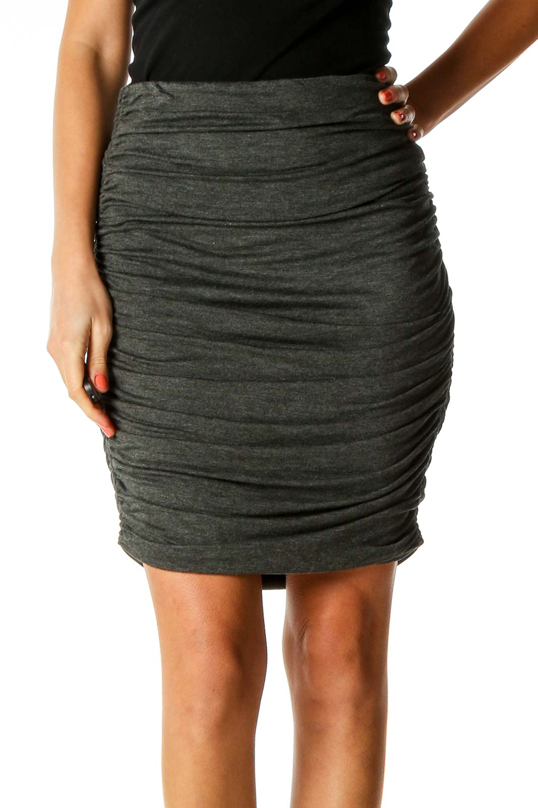 Gray Party Pencil Skirt Front