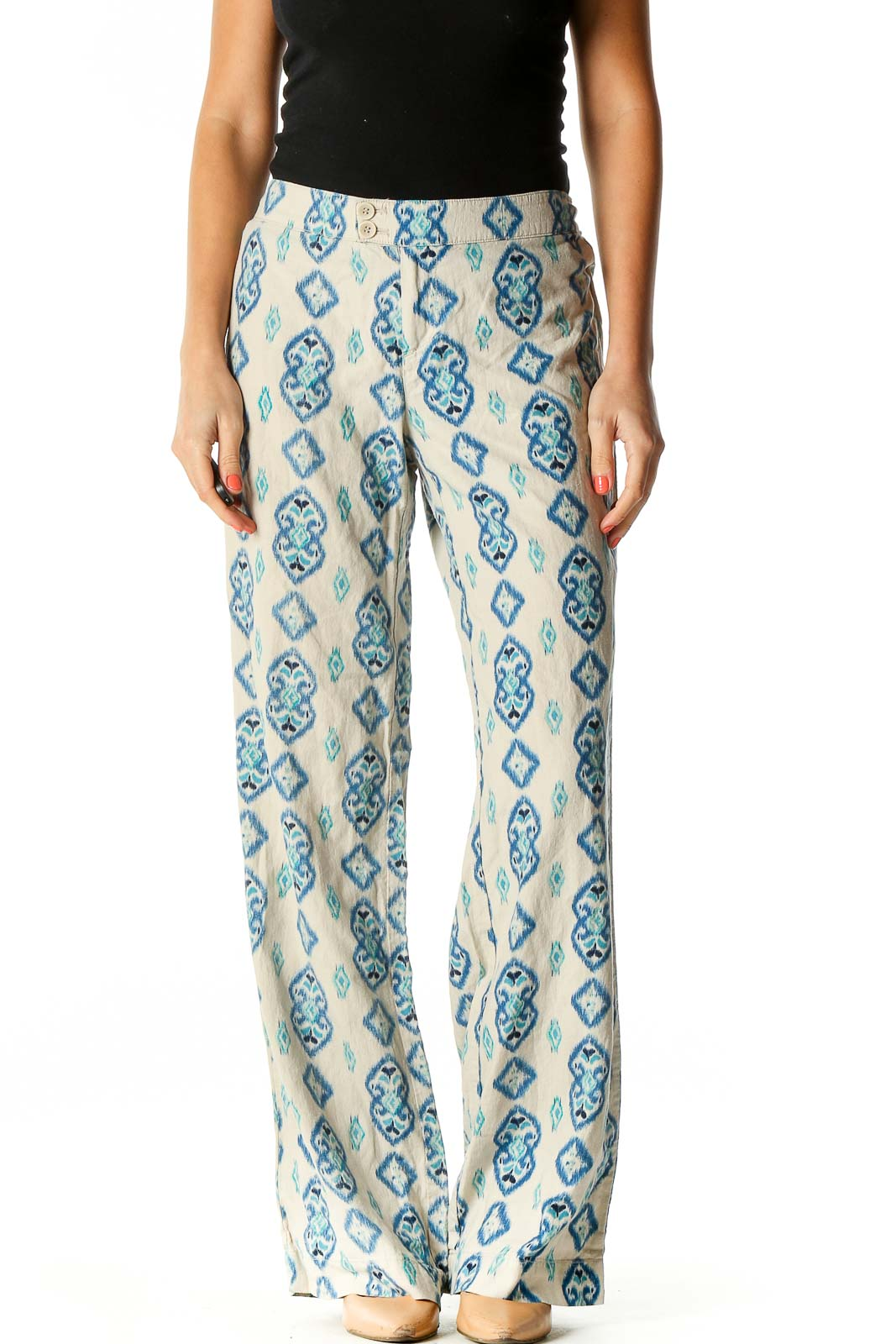 Beige Printed Holiday Trousers Front