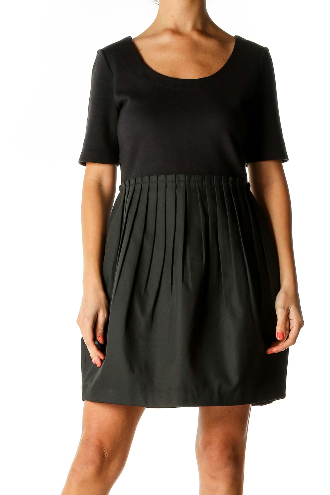 Black Textured Chic Dress Front