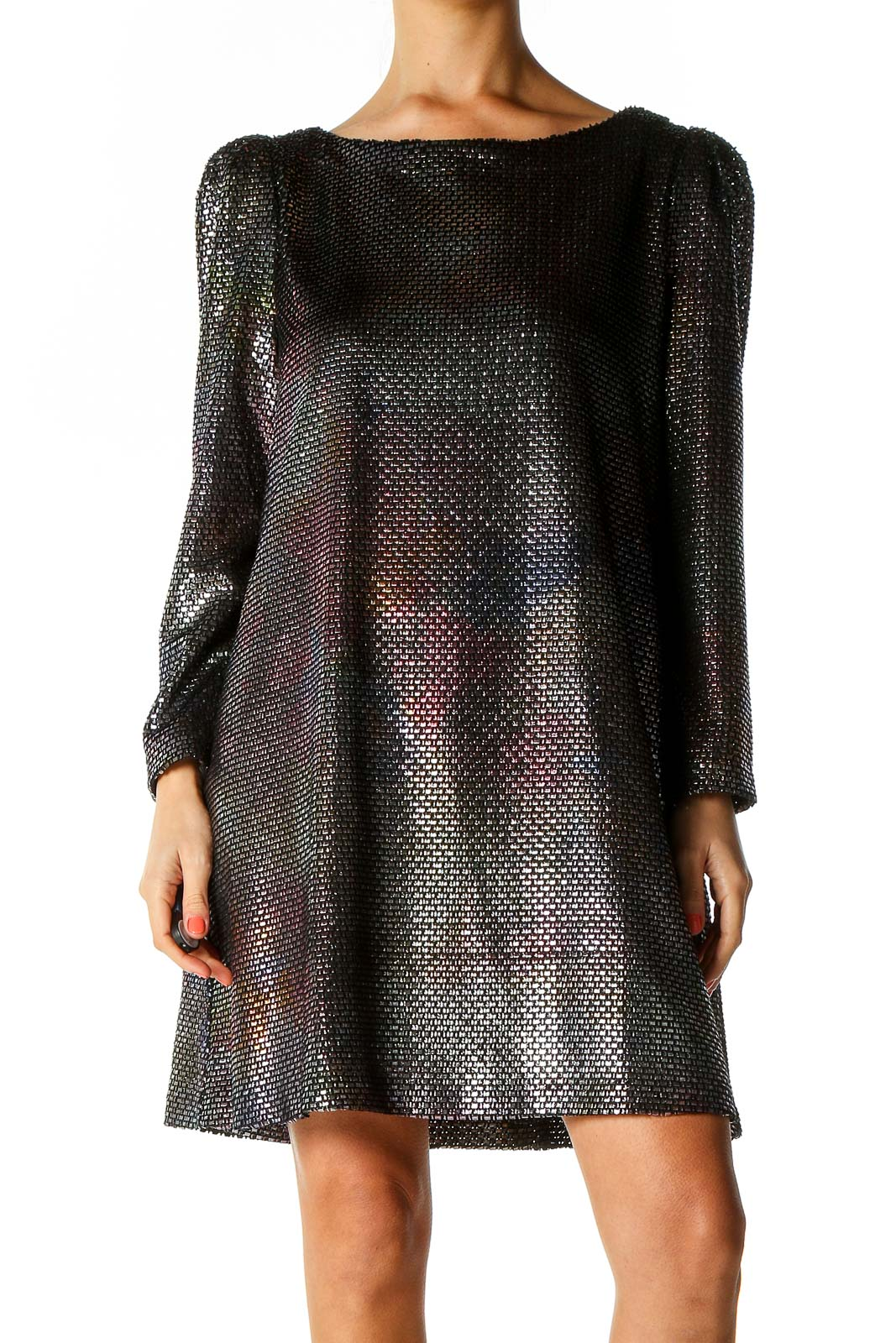 Black Textured Party Wear Dress Front