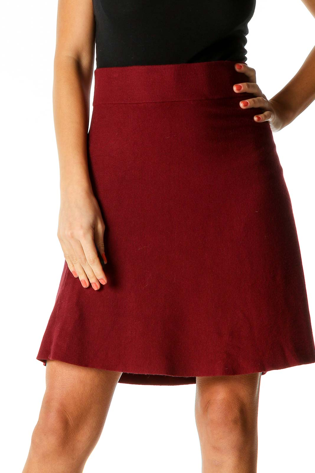 Red Textured Retro A-Line Skirt Front