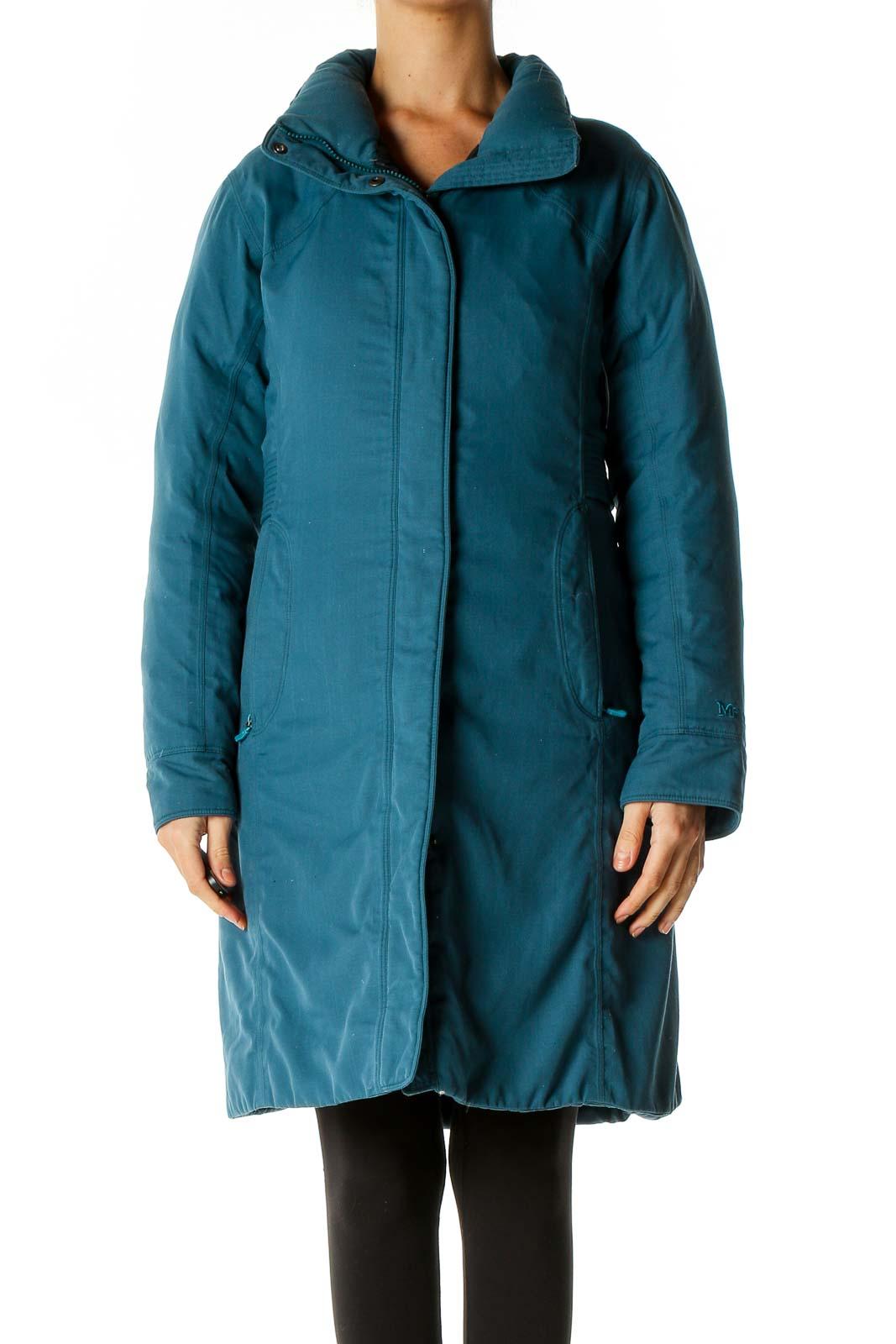 Blue Puffer Coat Front