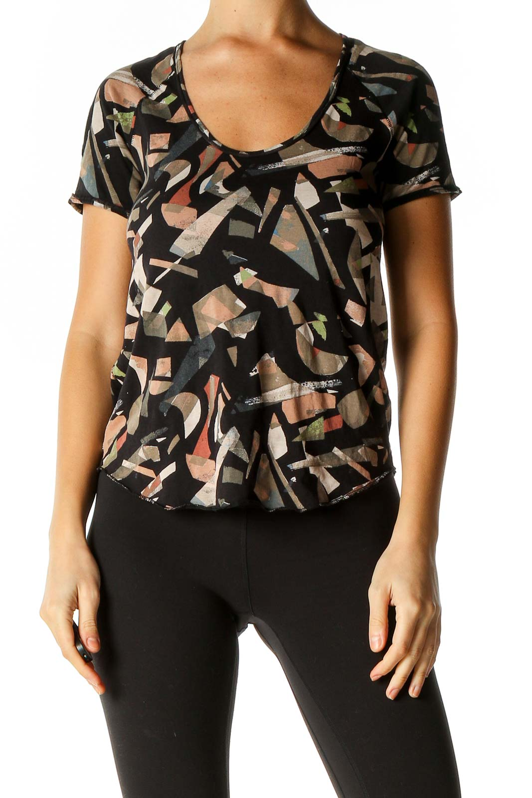 Black Printed T-Shirt Front