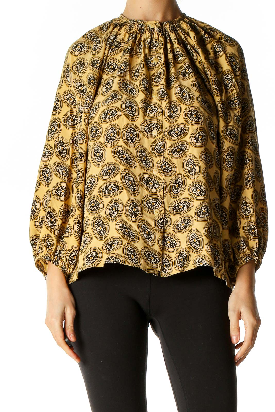 Yellow Printed Retro Blouse Front