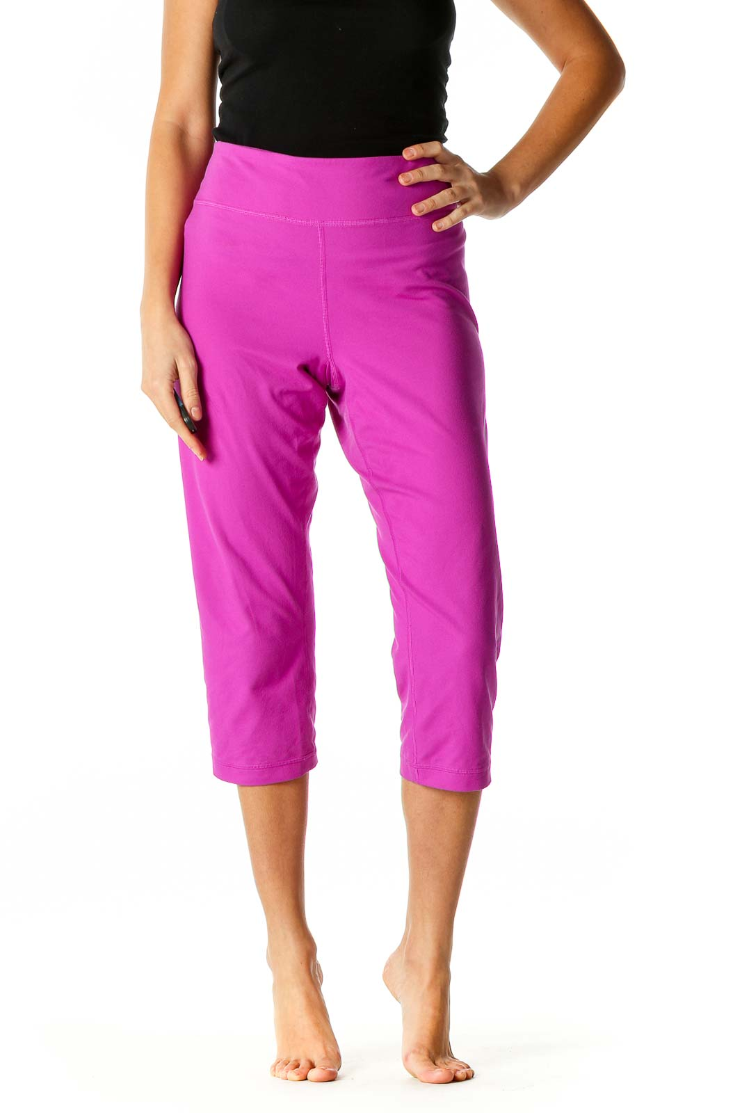 Pink Solid Activewear Leggings Front