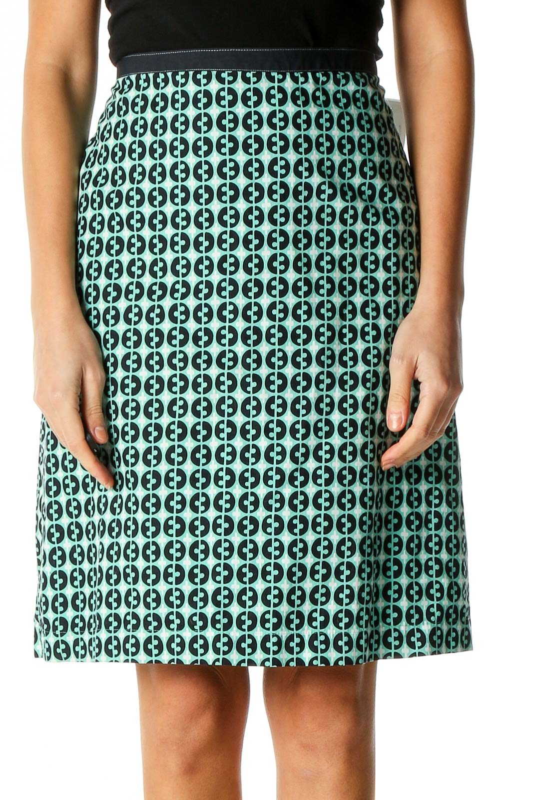 Green Printed Brunch A-Line Skirt Front