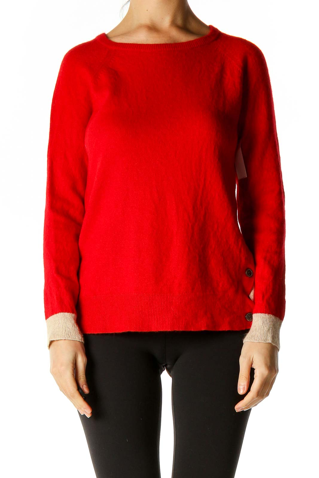 Red Colorblock All Day Wear Sweater Front
