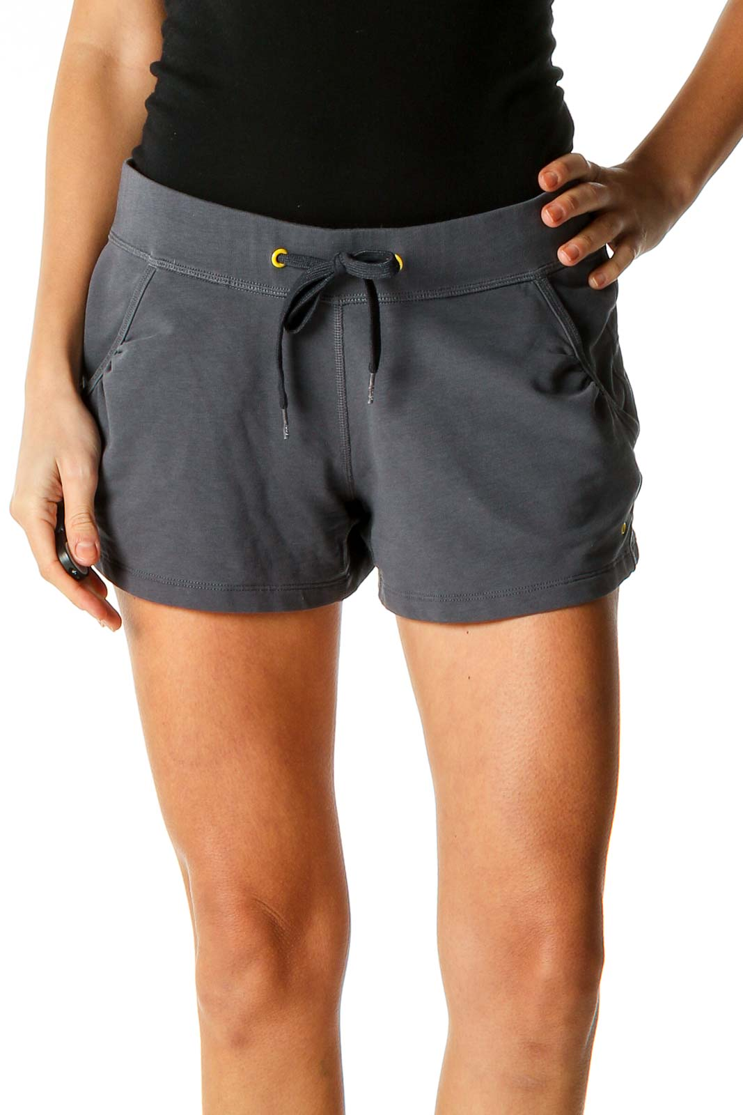 Gray Textured All Day Wear Shorts Front