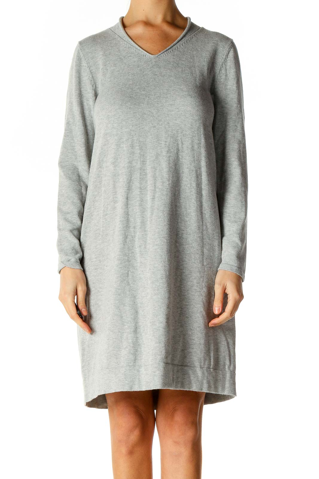 Green Solid Classic Shift Dress Front
