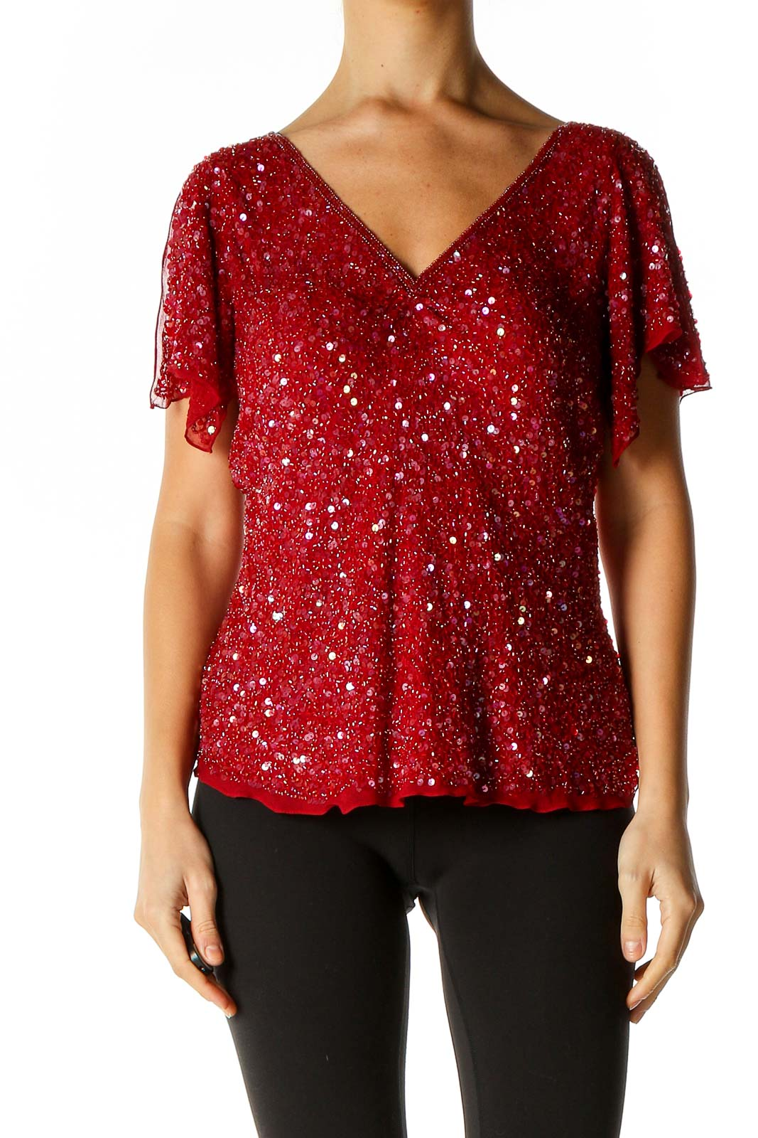 Red Sequin Party Blouse Front