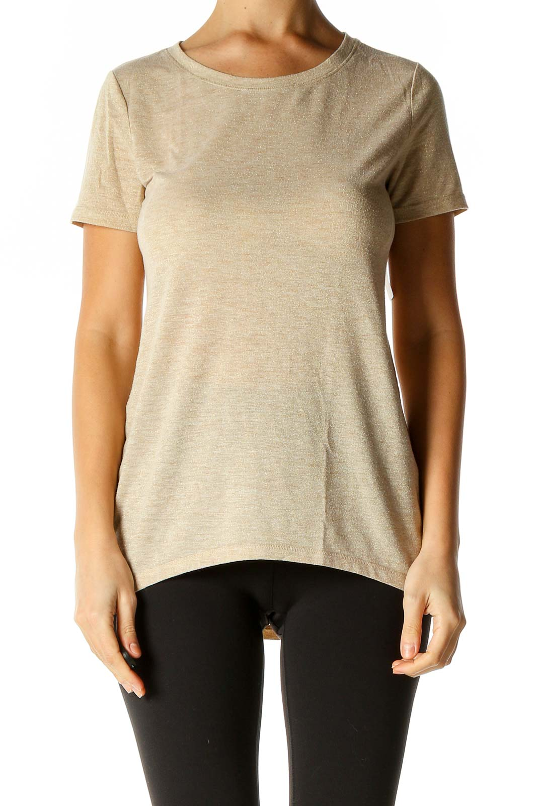 Beige Textured Casual T-Shirt Front