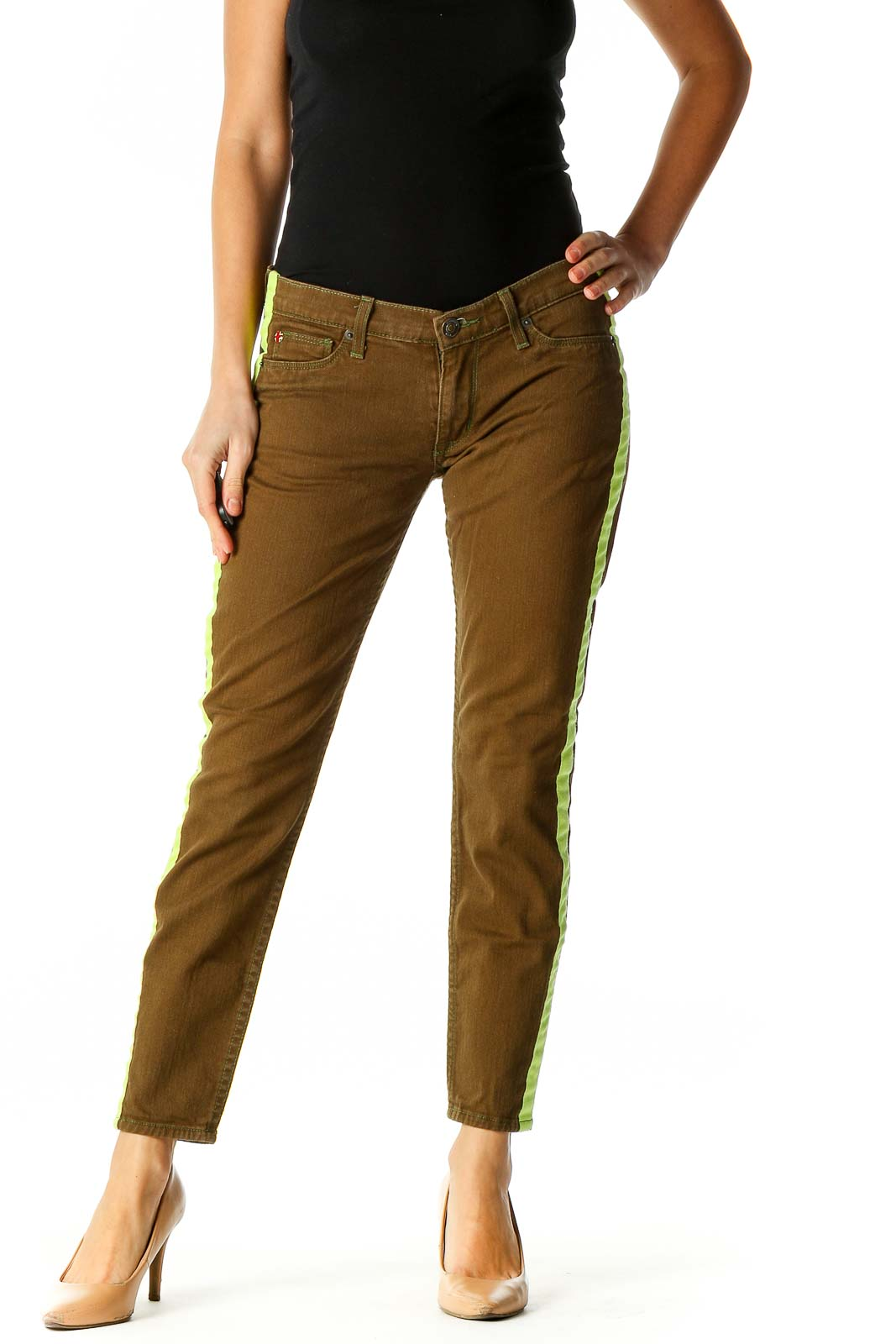 Brown Chic Colorblock All Day Wear Jeans Front