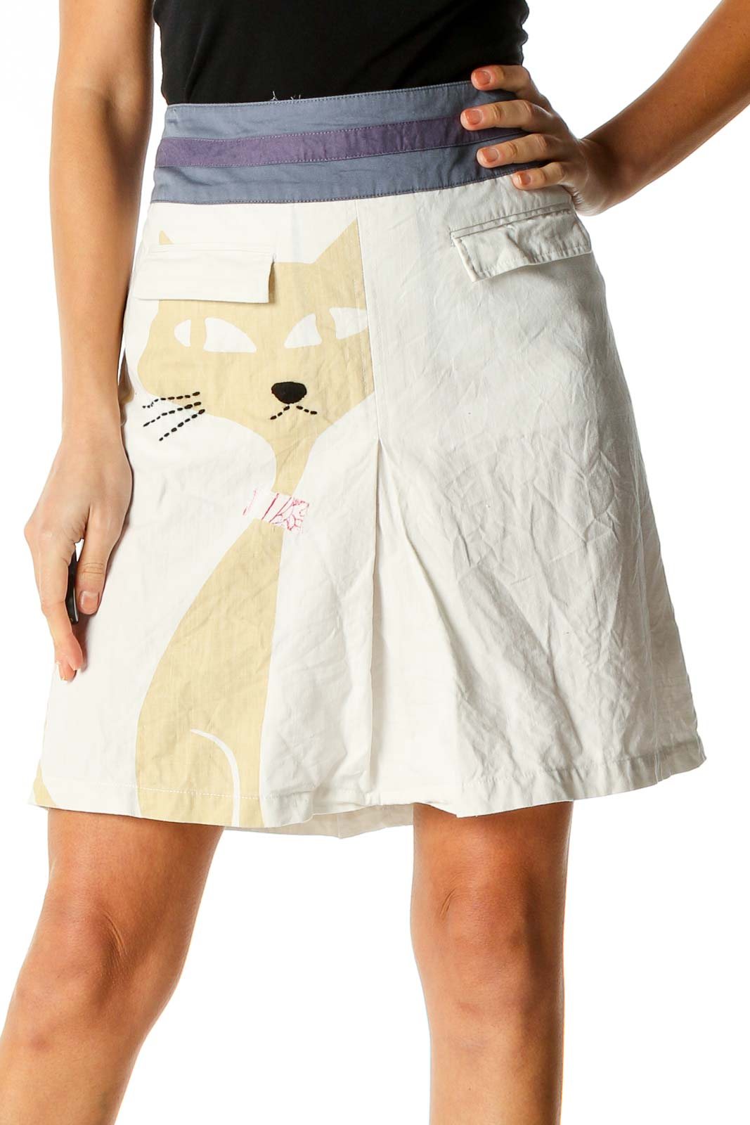 White All Day Wear A-Line Skirt Front