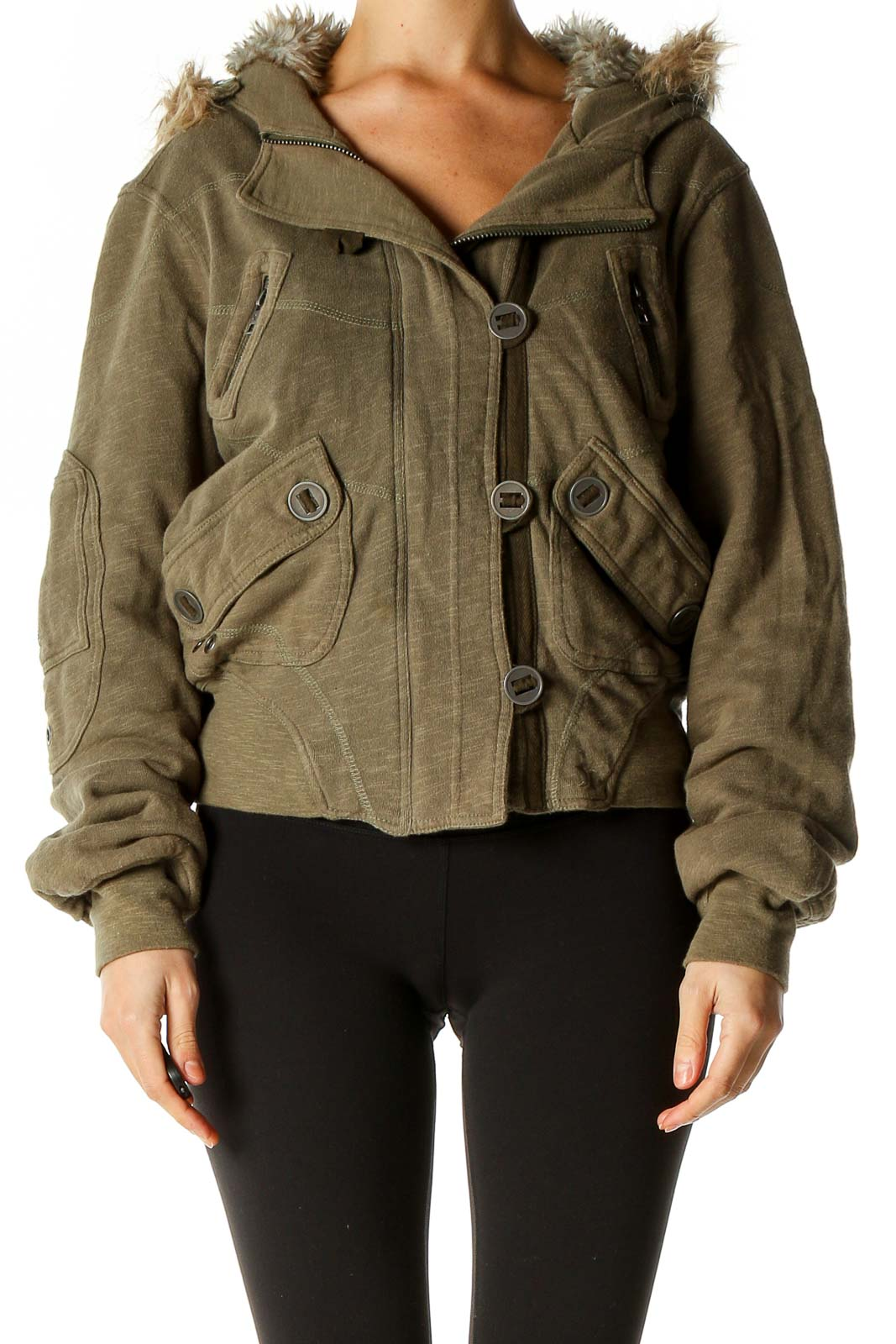 Green Shearling Jacket Front
