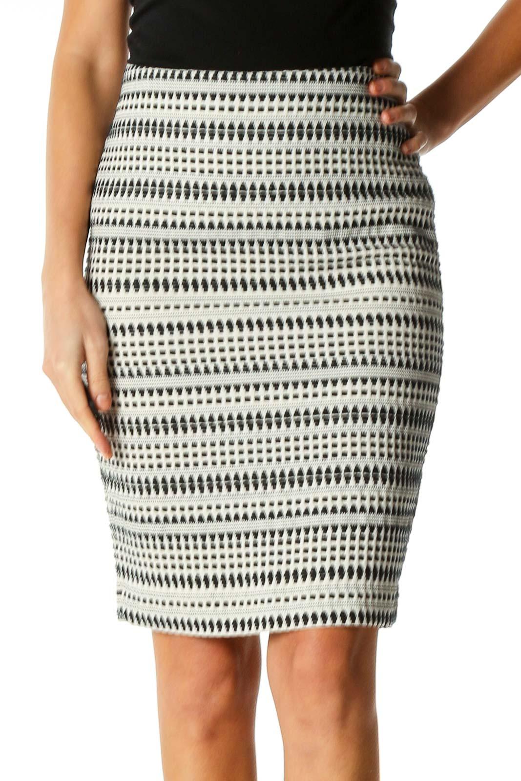 White Textured Bohemian Pencil Skirt Front